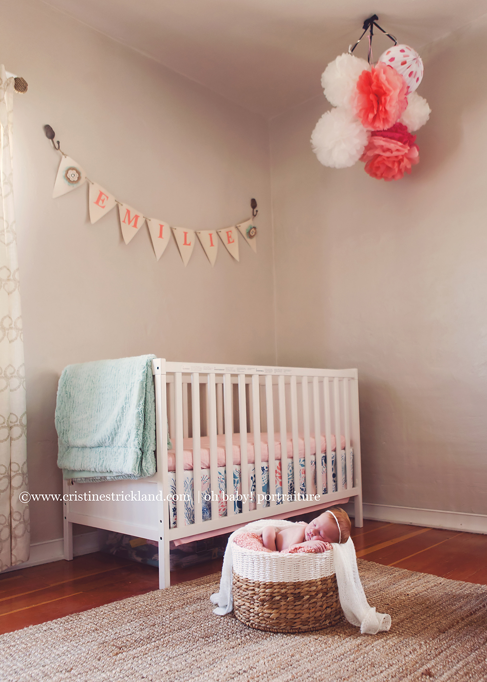 newborn baby girl in her downtown bedroom in grand junction, colorado