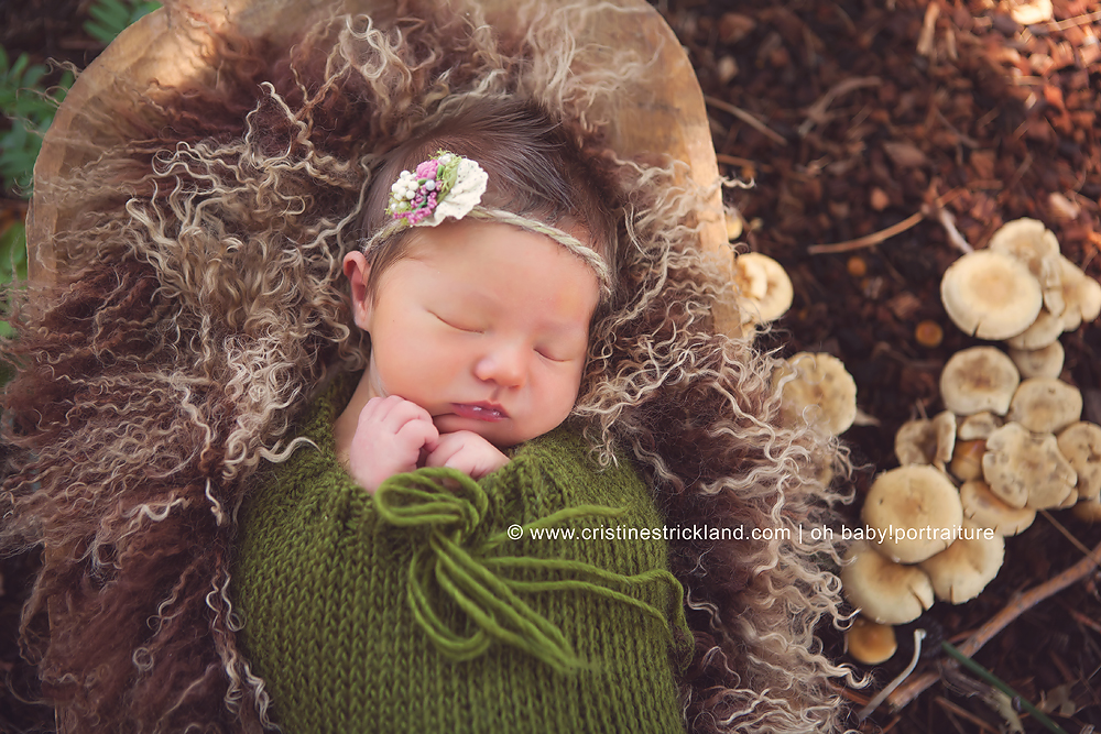 woodland newborn baby girl
